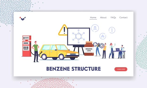 Modello di pagina di destinazione della struttura del benzene. personaggi sull'auto di rifornimento di benzina con carburante vicino a un enorme schermo con anello di petrolio formula c6h6, rifornimento del veicolo. cartoon persone illustrazione vettoriale