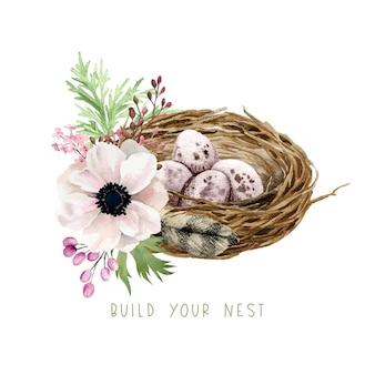 Nido di berd con uova, fiori e vegetazione, decorazioni pasquali, illustrazione dell'acquerello di primavera