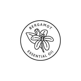 Icona di olio essenziale di fiori di bergamotto in stile lineare alla moda. distintivi di bergamotto organico di vettore del modello e dell'emblema di progettazione di imballaggio. isolato su sfondo bianco. per tè, cosmetici, medicinali