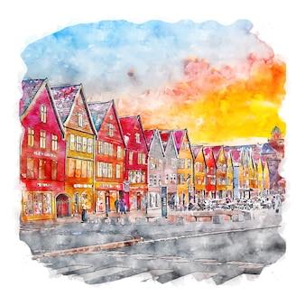 Illustrazione disegnata a mano di schizzo ad acquerello di bergen hordaland norvegia