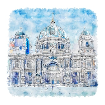Illustrazione disegnata a mano di schizzo dell'acquerello di berlino germania