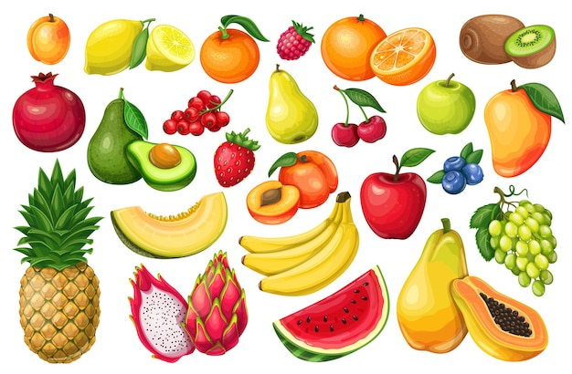 Bacche e frutti in stile cartone animato. pitaya, melograno, lamponi, fragole, uva, ribes e mirtilli. set di limone, pesca, mela, arancia, anguria, avocado e melone