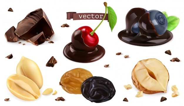 Bacche, noci e cioccolato. mirtillo, ciliegia, arachide, nocciola, uva passa, insieme 3d