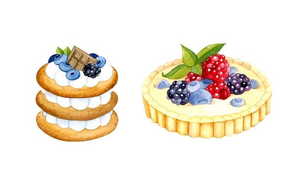 Berry torta e crema pasticcera tartlet elementi dell'acquerello isolati