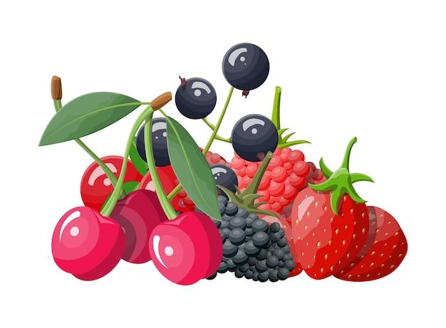Set di icone di bacche. mirtillo rosso, ribes nero, backberry, mirtillo, ribes rosso, lampone, fragola e ciliegia. frutti di bosco con foglie verdi. cibo sano biologico.