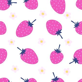 Berry fragola rosa senza cuciture modello di frutta bacche e fiori su sfondo bianco