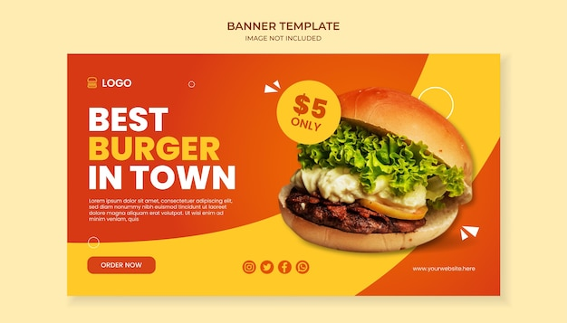 Miglior hamburger nel modello di banner della città per un ristorante fast food