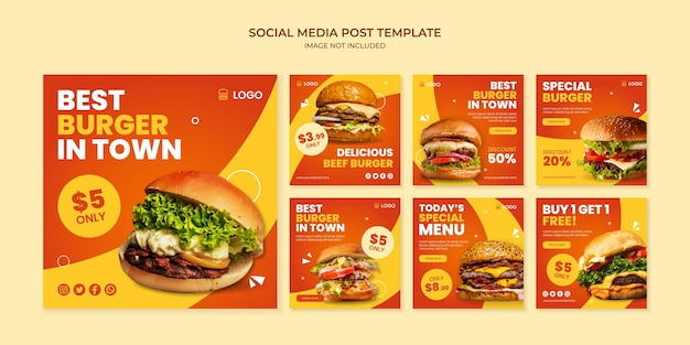 Miglior hamburger in città social media instagram post template