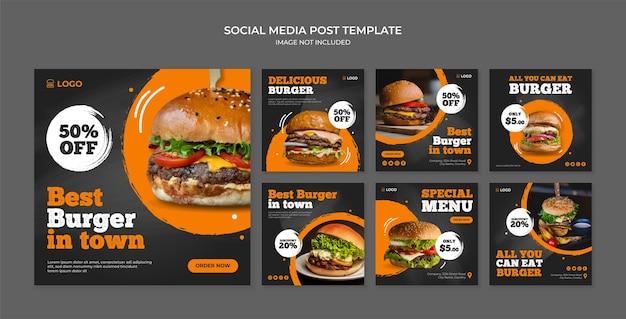 Il miglior hamburger in città modello di post sui social media per un ristorante fast food