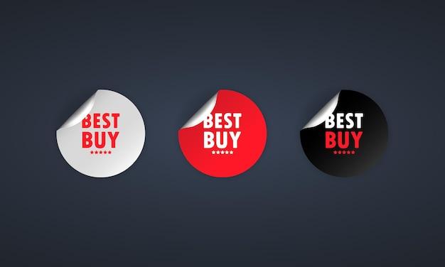 Miglior acquisto. set di adesivi. vettore di sconto. il miglior set di etichette da acquistare. tag cerchio rotondo nero, rosso e bianco. modello di distintivi di tag di vendita. promozione sconto. illustrazione vettoriale. eps10