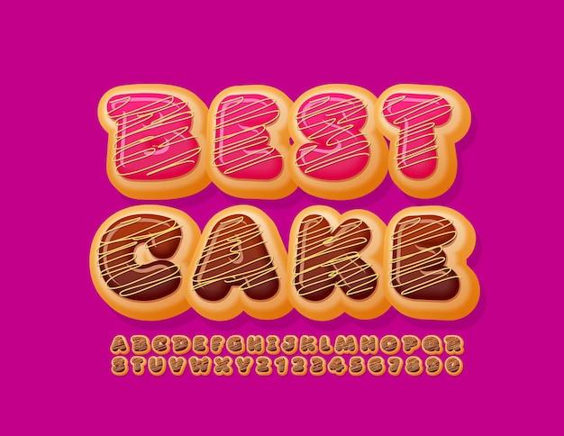 Set di lettere e numeri dell'alfabeto gustoso ciambella di carattere migliore torta al cioccolato delizioso