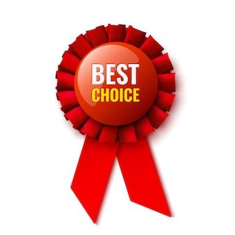 Scelta migliore. fiocco rosso. medaglia. distintivo. illustrazione.