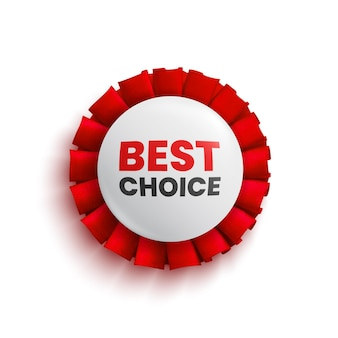 Banner rotondo vendita scelta migliore con nastro rosso badge vector illustration