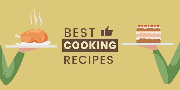 Le migliori ricette di cucina banner design piatto modello