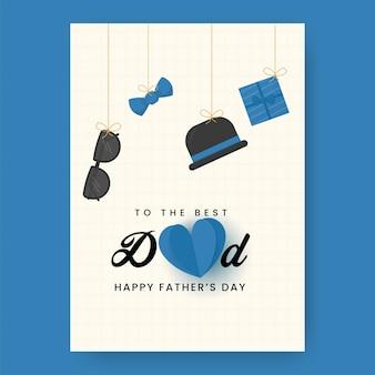 Per il miglior design del modello di festa del papà felice del papà con occhiali appesi, papillon, bombetta e confezione regalo su sfondo bianco a griglia.