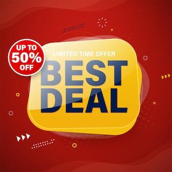 Design del modello di banner migliore offerta per web o social media, sconto del 50%.