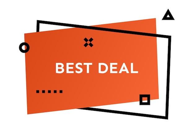 Bandiera alla moda geometrica arancione migliore affare. moderna forma sfumata con testo promozionale. illustrazione vettoriale.