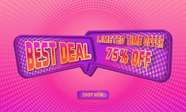 Migliore offerta di banner promozionali con cornice 3d e sfondo sfumato a mezzitoni