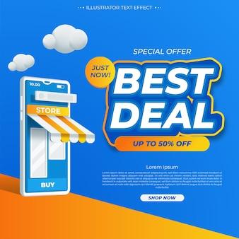 Miglior offerta. promozione del modello di banner di vendita
