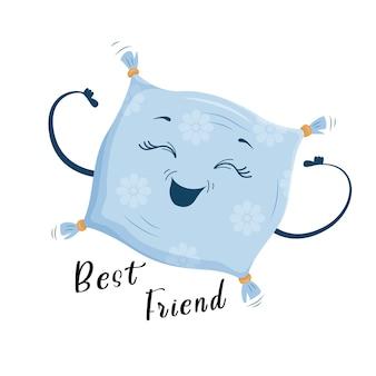 Il migliore amico è il cuscino, un simpatico cuscino gioioso in stile cartone animato. stampa su vestiti, stoviglie, tessuti. illustrazione di vettore eps10.