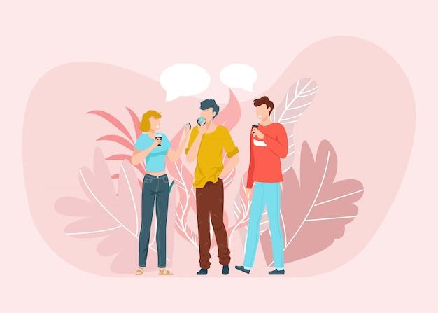 Migliori amici che si divertono insieme scena, parlare e bere caffè, amicizia llustration piatto isolato su sfondo rosa.