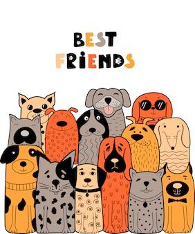 Migliori amici, illustrazione di un branco di cani