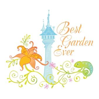 La migliore illustrazione del distintivo del giardino di sempre con il castello del palazzo e il design della principessa delle fiabe