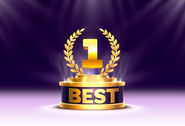 Miglior vincitore della coppa d'oro, scena del podio sul palco con cerimonia di premiazione su sfondo notturno