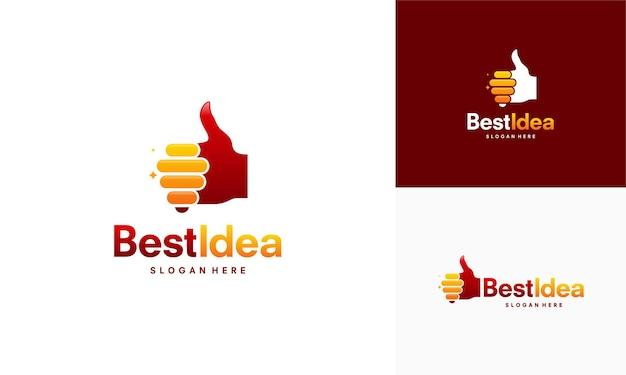 Il logo best idea progetta il vettore del concetto, la lampadina moderna e l'icona del logo del pollice