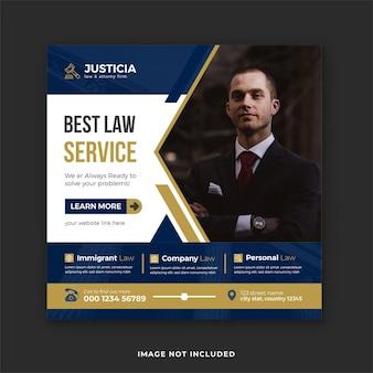 Miglior servizio legale e consulenza legale post sui social media e banner su instagram