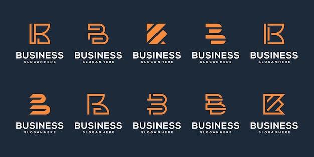 Miglior logo collezione monogramma lettera b.