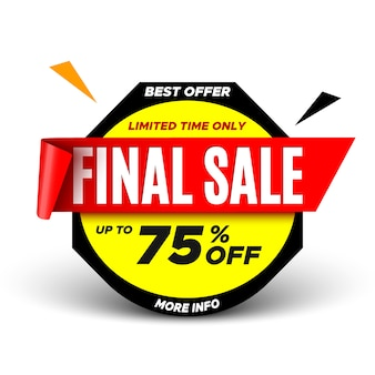 Banner di vendita finale migliore offerta con nastro rosso.
