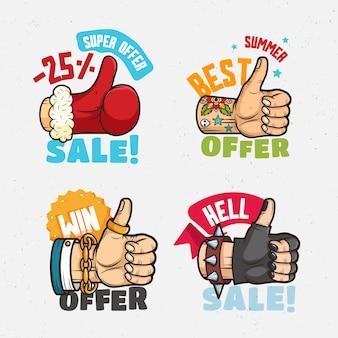 Migliore offerta, striscioni di vendita con i pollici in su le mani. babbo natale, motociclista, uomo d'affari,