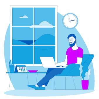 Il posto migliore per il lavoro a distanza. il giovane sta lavorando in outsourcing. lat design illustrazione, pronto per il concetto di animazione per sito web, presentazione, app mobile.