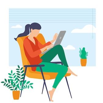 Il posto migliore per il lavoro a distanza. la giovane donna sta lavorando in outsourcing. lat design illustrazione, pronto per il concetto di animazione per sito web, presentazione, app mobile.