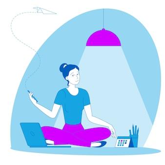 Il posto migliore per il lavoro a distanza. la giovane donna sta lavorando in outsourcing seduto sul pavimento. lat design illustrazione, pronto per il concetto di animazione per sito web, presentazione, app mobile.