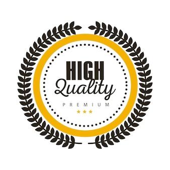 Etichetta della migliore qualità con forma di ghirlanda circolare