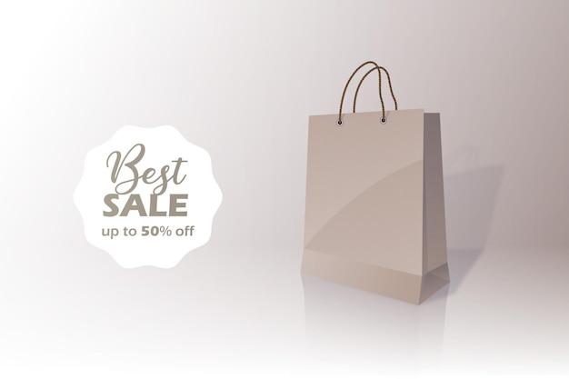 Migliore vendita badge shopping concetto di sacchetto di carta comune con sconto cinquanta 50 percento