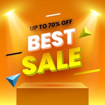 Miglior banner di vendita. podio arancione. piedistallo. illustrazione.