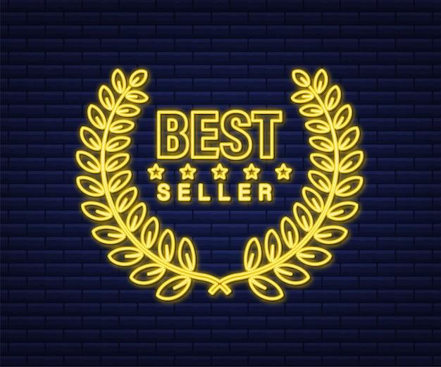 Best seller insegna al neon dorata con alloro. illustrazione di riserva di vettore.