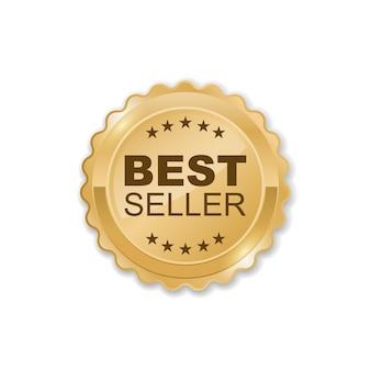 Distintivo dorato del best seller, illustrazione vettoriale isolata