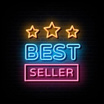 Simbolo del segno di vettore del testo al neon del best seller