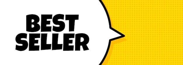 Il più venduto. insegna del fumetto con il testo del migliore venditore. altoparlante. per affari, marketing e pubblicità. vettore su sfondo isolato. env 10.