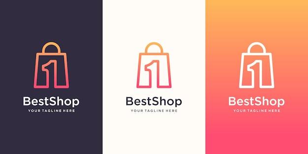 Best shop logo design template, borsa combinata con il numero uno.