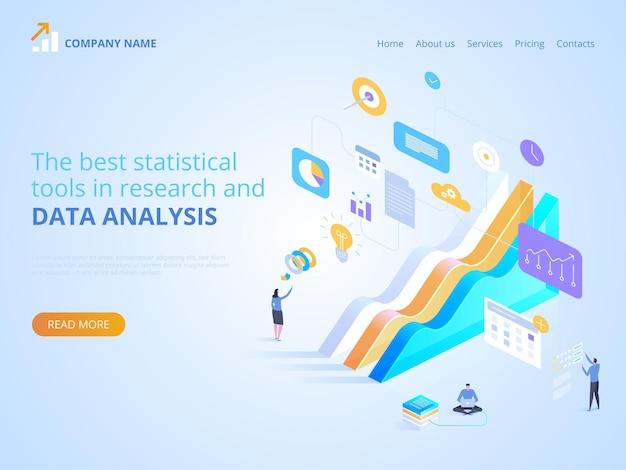 I migliori strumenti statistici nella ricerca e nell'analisi dei dati. illustrazione isometrica per pagina di destinazione, web design, banner e presentazione.
