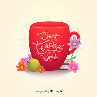 Il miglior insegnante del mondo scritte sulla coppa rossa Vettore Premium