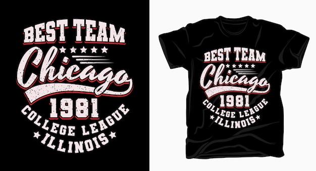 Miglior design tipografico di squadra chicago varsity per t-shirt