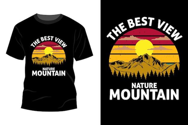 La migliore vista natura montagna t-shirt mockup design vintage retrò