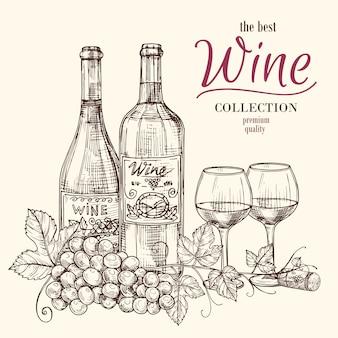 Miglior modello di banner di vino con bottiglie di vino disegnati a mano, bicchieri e uva