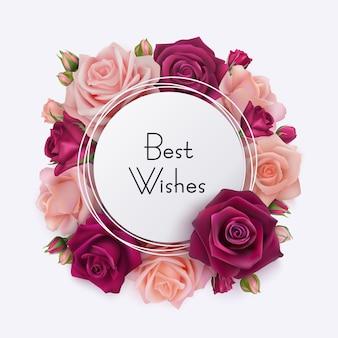 Carta dei migliori auguri. cornice rotonda bianca con rose rosa